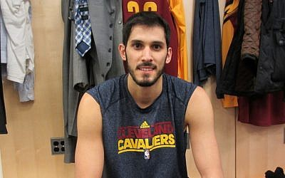 Double chai. Omri Casspi in the locker room before Wednesday's game. (Photo credit: Howard Blas, Times of Israel)