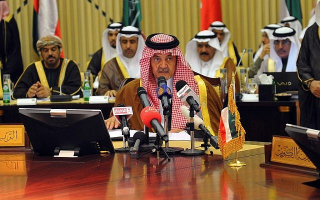 Saudi Foreign Minister Prince Saud al-Faisal at a Gulf Cooperation Council meeting in Riyadh in 2012 (photo credit: AP/Saudi Press Agency)