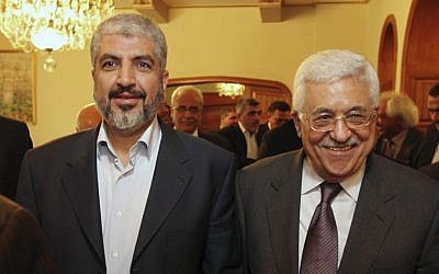 Hamas leader Khaled Mashaal, left, with Palestinian Authority President Mahmoud Abbas. (AP)