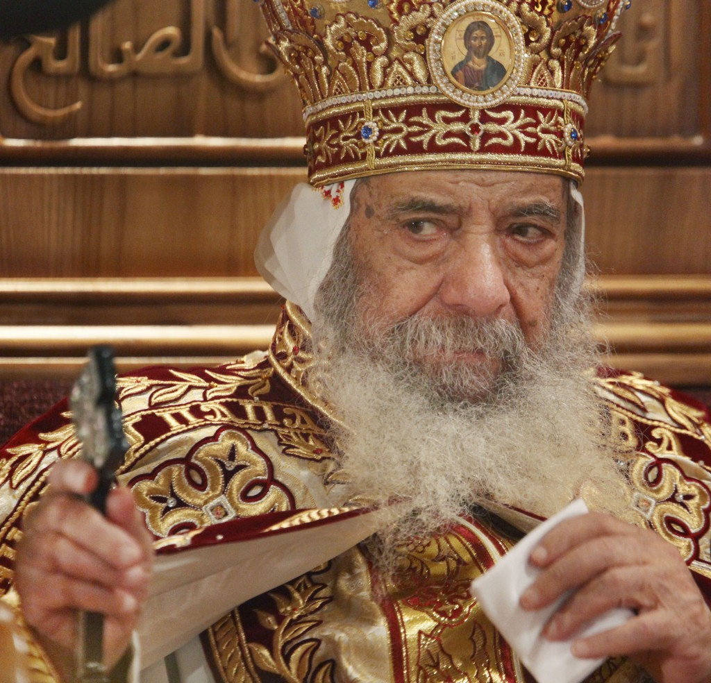 Pope Shenouda III in 2009 (photo credit: AP/Ben Curtis, File)