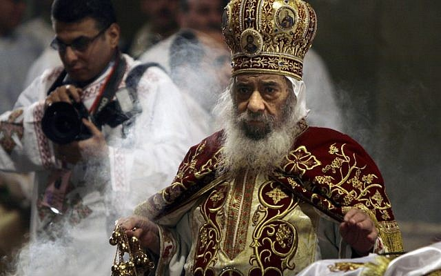 Pope Shenouda III taking part in a Christmas rite in 2008. (photo credit: AP/Amr Nabil, File)