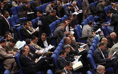 Egypt's parliament in session. (photo credit: AP/Ahmed Gomaa)