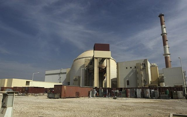 Illustrative: The existing nuclear facility in Bushehr province, Iran (photo credit: AP/Mehr News Agency/Majid Asgaripour/File)