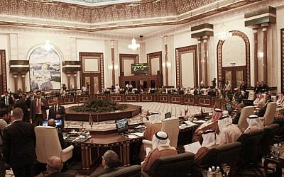 Foreign ministers of the 22-member Arab League meeting in March in Baghdad, Iraq (photo credit: AP/Karim Kadim)