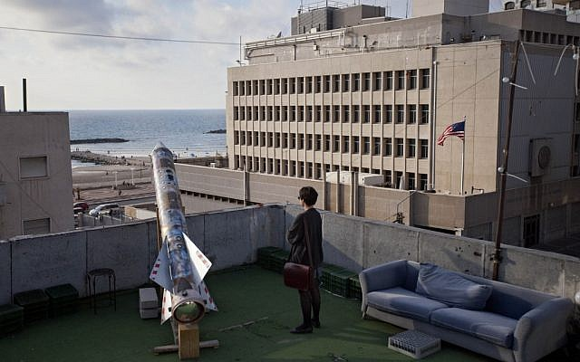 "A model of a rocket is displayed on a roof next to the US embassy as part of an art exhibition called ""Iran"" at a gallery in Tel Aviv. (photo credit: AP)"