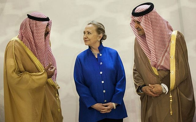 Then-US Secretary of State Hillary Clinton talking with Saudi and Kuwaiti officials in Riyadh in March 2012. (photo credit: AP/Brendan Smialowski)