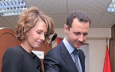 Bashar and Asma Assad (photo credit: AP/SANA)
