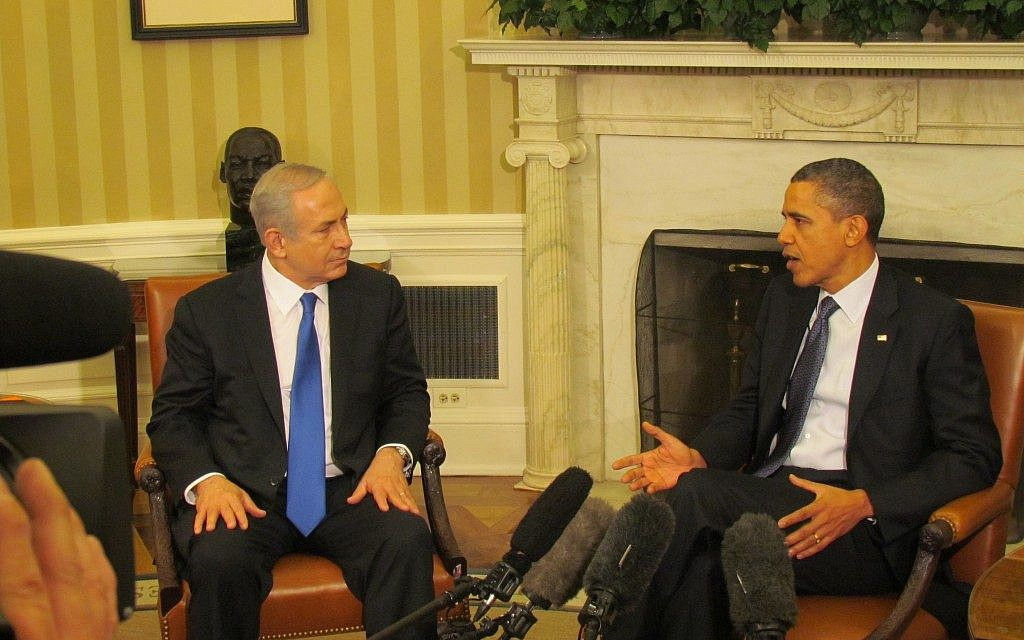 Barack Obama and Benjamin Netanyahu Monday (photo credit: Ron Kampeas/JTA)