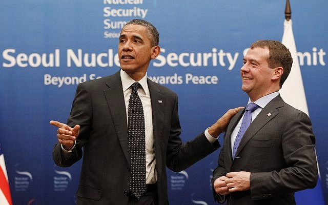 US President Barack Obama and Russian President Dmitry Medvedev after their bilateral meeting at the Nuclear Security Summit in Seoul. (photo credit: AP/Pablo Martinez Monsivais)