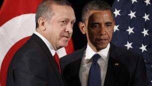 Turkish Prime Minister Recep Tayyip Erdogan (left) with US President Barack Obama during a bilateral meeting (photo credit: AP/Pablo Martinez Monsivais)