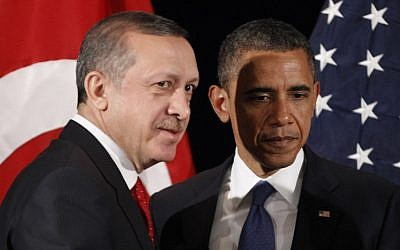File: Turkish Prime Minister Recep Tayyip Erdogan, left, with US President Barack Obama during a bilateral meeting in 2011. (AP/Pablo Martinez Monsivais)