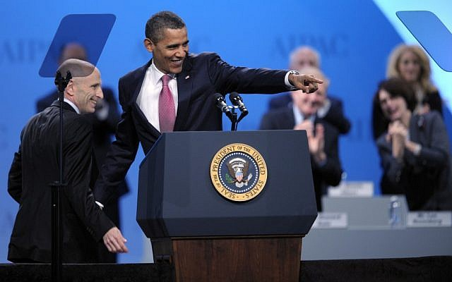 US President Barack Obama at the 2012 AIPAC conference in Washington, DC (AP/Cliff Owen)