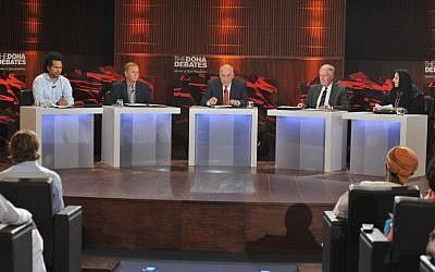 Professor Ohad Birk (second from left) at 'The Doha Debates' (photo credit: Courtesy)