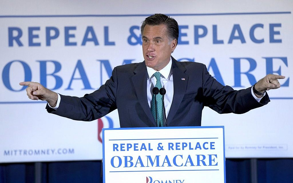 Mitt Romney speaks in San Diego, California. (photo credit: AP/Steven Senne)