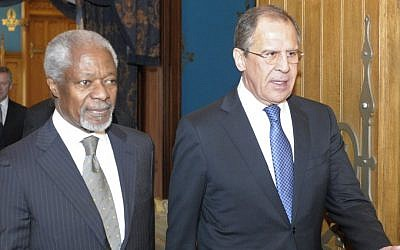 Kofi Annan (left) and Sergei Lavrov in Moscow Sunday (photo credit: AP)