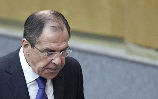Russian Foreign Minister Sergey Lavrov (photo credit: Misha Japaridze/AP)