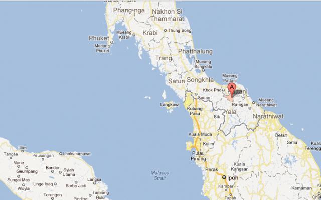 Map of Yala City, Thailand (photo credit: google maps)
