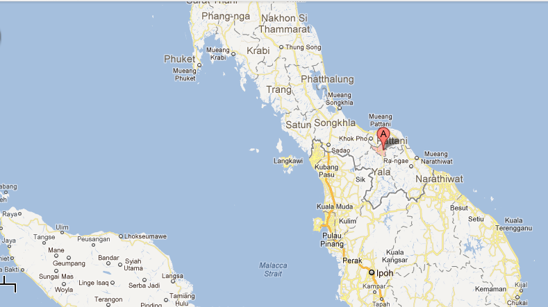 Bombs in southern thailand kill eight wound dozens the times of map of yala city thailand photo credit google maps gumiabroncs Images