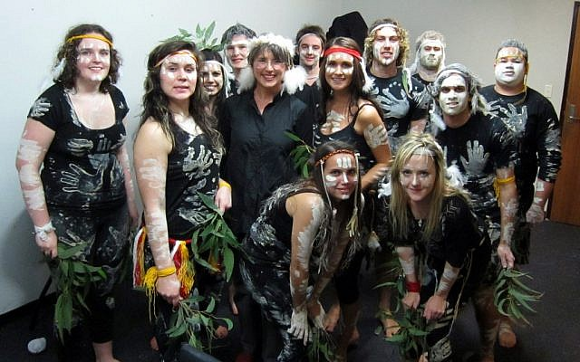 Shalom Indigenous students with Prof. Lisa Jackson Pulver at an art exhibit on indigenous cultures that benefits the scholarship fund. (Photo credit: Courtesy)