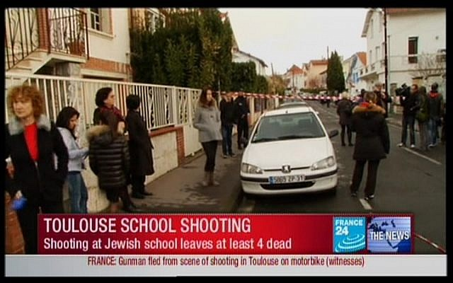 People outside the school after the shooting (screen capture, France 24)