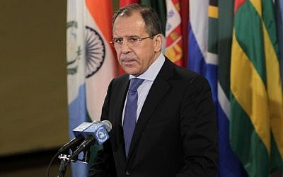 Russian Foreign Minister Sergey Lavrov (photo credit: Seth Wenig/AP)