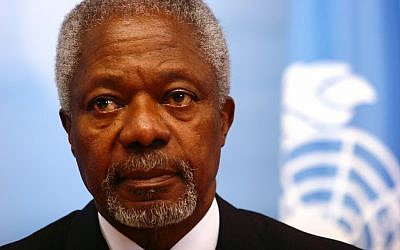 United Nations and Arab League envoy to Syria Kofi Annan (photo credit: Orel Cohen/Flash90)