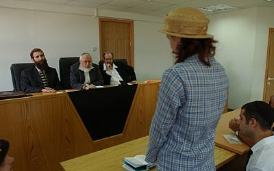 A conversion to Judaism in a rabbinic court (photo credit: Flash 90)