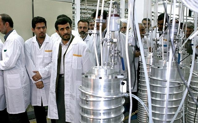 Iranian President Mahmoud Ahmadinejad visits the Natanz enrichment facility in 2008 (photo credit: www.president.ir)
