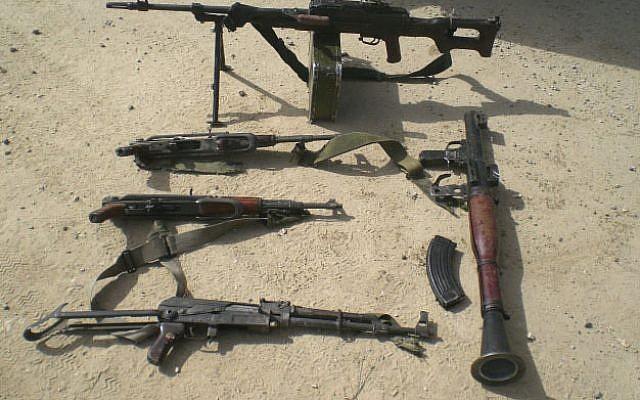 Smuggled weapons (illustrative photo: IDF Spokesman/Flash 90)