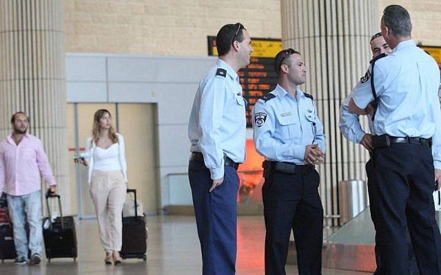 Illustrative photo of security personnel at Ben Gurion Airport. (Meir Partush/Flash90)