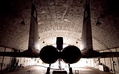 An F-15 in its hangar in the Ovda air force base (photo credit: Ofer Zidon/Flash90)