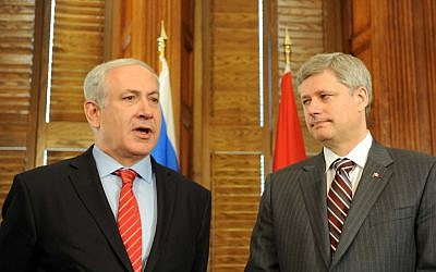 Prime Minister Benjamin Netanyahu, left, and Canadian Prime Minister Stephen Harper in Ottawa in May 2010. (photo credit: Avi Ohayon/GPO/Flash 90)