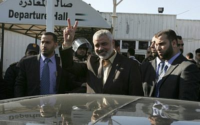 Ismail Haniyeh at the Rafah crossing between Gaza and Egypt. (photo credit: Abed Rahim Khatib / Flash90)