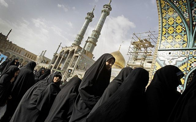 Iranian women queue to cast their ballot for the parliamentary elections at Masoumeh shrine in the city of Qom, Iran, on Friday, March 2, 2012 (photo credit: AP/Kamran Jebreili)
