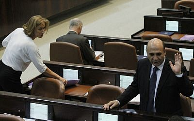 Tzipi Livni with Shaul Mofaz in the Knesset in October (photo credit: Miriam Alster/Flash90)