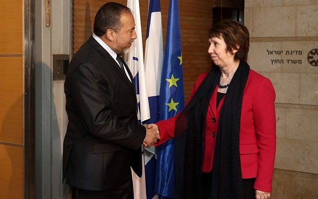 Foreign Minister Avigdor Lieberman meets with Catherine Ashton, High Representative for Foreign Affairs and Security Policy of the European Union, in Jerusalem in January (photo credit: Kobi Gideon/Flash90)