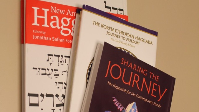 Some new haggadot for this Passover: 'Sharing the Journey,' the 'New American Haggadah' and 'Journey to Freedom.' (photo credit: JTA)