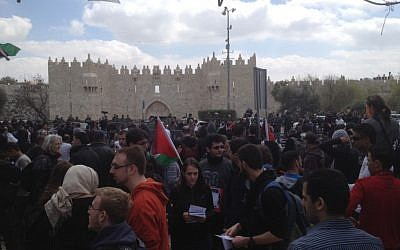 Protesters at Jerusalem's Damascus Gate (Photo credit: Matti Friedman/Times of Israel)