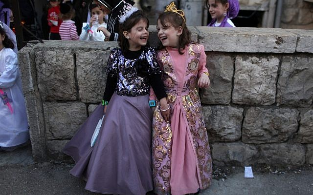 Girls in Purim costume (photo credit: Kobi Gideon/Flash90)