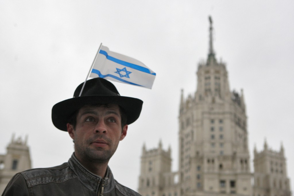 A Russian Jew at a pro-Israel rally in Moscow (photo credit by Valery Melnikov/Kommersant/Flash 90)