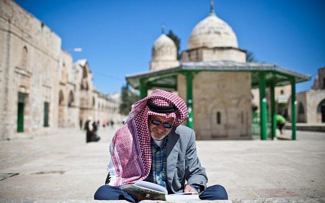 A Muslim worshiper on Jerusalem's Temple Mount (photo credit: Noam Moskowitz/Flash90)