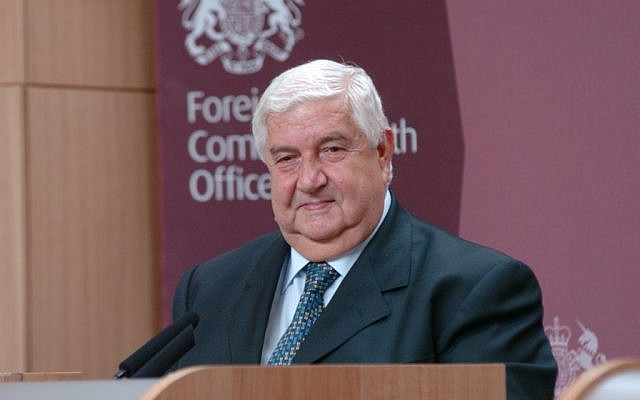 Syrian Foreign Minister Walid Muallem (photo credit: CC-BY Foreign and Commonwealth office/Flickr)
