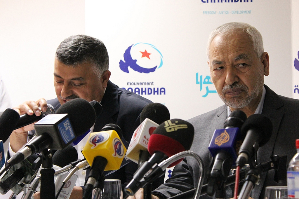 Rached Ghannouchi, leader of Tunisia's ruling Islamist party, right (photo credit: CC-BY-SA Ennahda, Flickr)