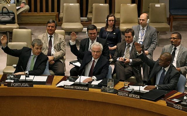 Members of the United Nations Security Council (photo credit: AP/Craig Ruttle)