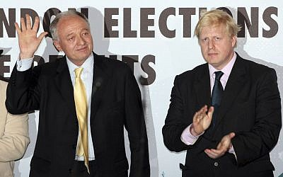 In this May 3, 2008 file photo, outgoing mayor of London, the Labour Party candidate Ken Livingstone, left, waves after being defeated in the London mayoral elections by Conservative Party candidate Boris Johnson as the results are announced at City Hall in London. (AP Photo/Matt Dunham, File)