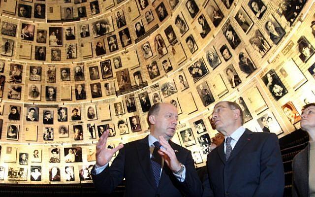 Lithuanian Prime Minister Andrius Kubilius visits Yad Vashem in 2010. (photo credit: Yossi Zamir/Flash90)