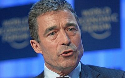 NATO Secretary General Anders Fogh Rasmussen at the World Economic Forum Annual Meeting in Davos, Switzerland in 2008 (photo credit: CC-BY-SA World Economic Forum, Hemmingsen, Wikimedia Commons)