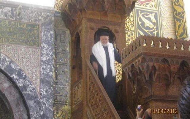 The Grand Mufti of Egypt, Ali Gomaa, visiting the Al-Aqsa mosque last Wednesday. (photo credit: @DrAliGomaa, Twitter)