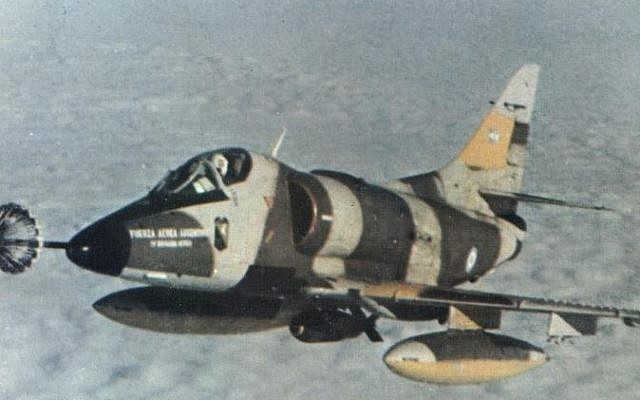 An Argentine Air Force historical photo of the IV Air Brigade A-4C Skyhawk 'C-313' during the Falklands War. (photo credit: public domain)