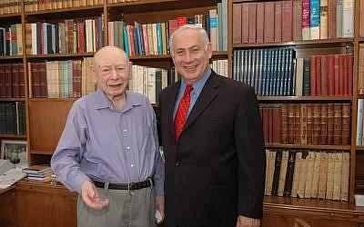Benzion (left) and Benjamin Netanyahu (photo credit: Flash/90)